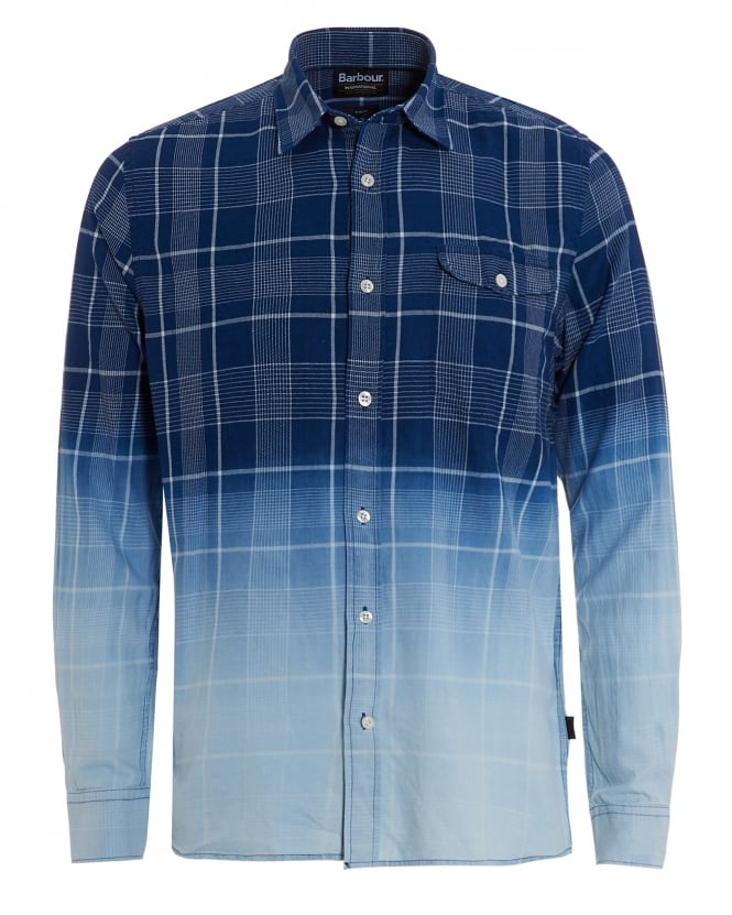 Barbour International Mens Black Hawk Shirt, Faded Check Indigo Shirt