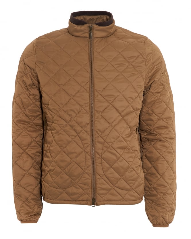 Barbour International Mens Boxer Quilt Jacket, Military Brown Coat