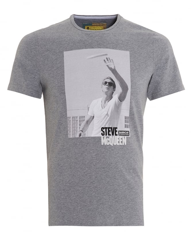 Barbour International Mens Catch T-Shirt, Steve McQueen Frisbee Grey Tee