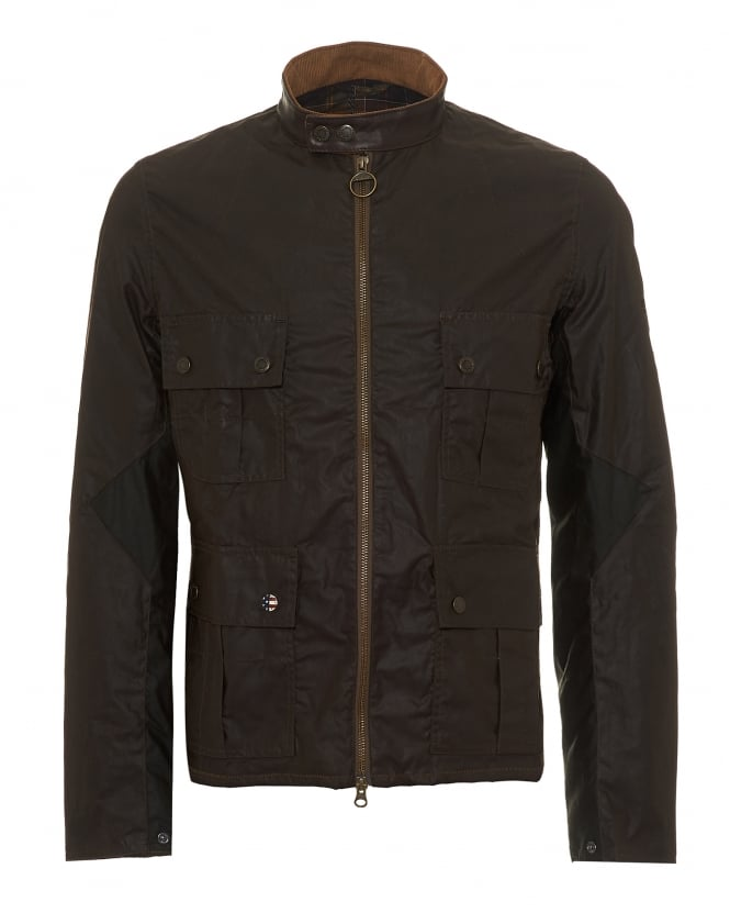 Barbour International Mens Chico Wax Jacket, Beeswax Coated Olive Green Coat