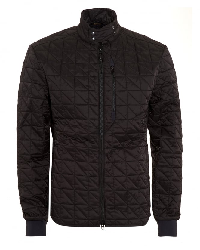 Barbour International Mens Coat, Condenser Quilted Black Jacket