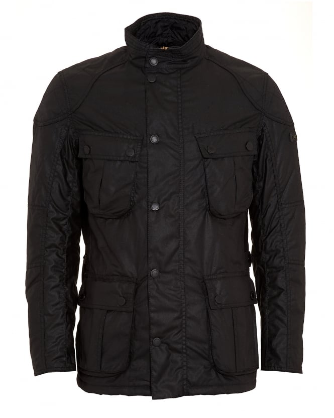 Barbour International Mens Coat, Gauge Tailored Fit Wax Black Jacket