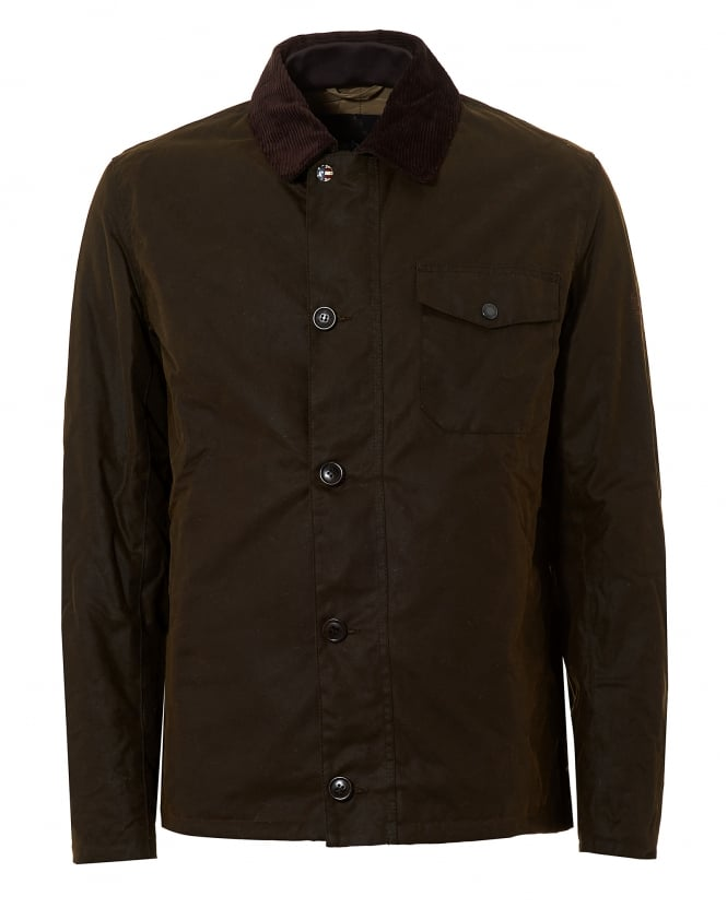Barbour International Mens Deck Waxed Olive Green Jacket