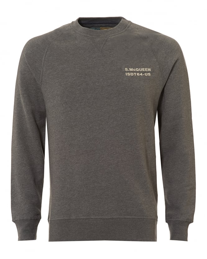 Barbour International Mens Issue Sweatshirt, Tape Chest Grey Sweat