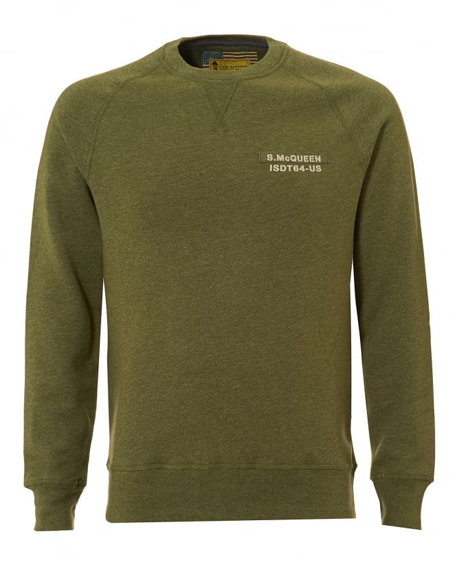 Barbour International Mens Issue Sweatshirt, Tape Chest Olive Sweat