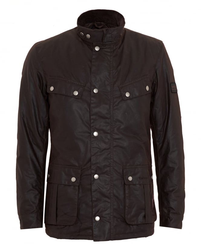Barbour International Mens Jacket, Duke Waxed Rustic Brown Coat