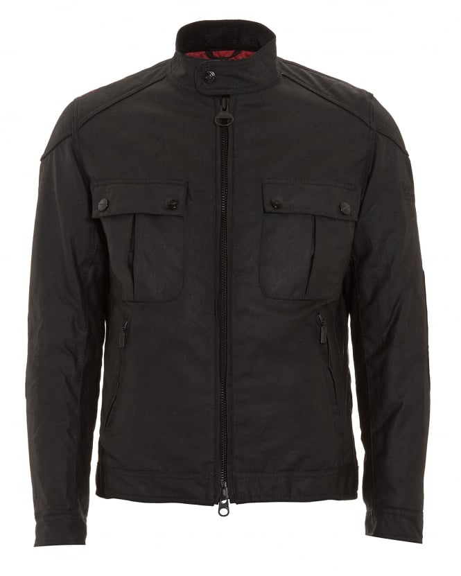 Barbour International Mens Jacket, Triumph Locking Black Wax Jacket
