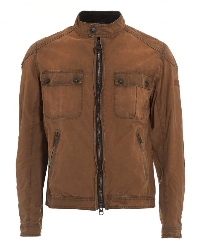 Barbour International Mens Jacket, Triumph Locking Distressed Tan Jacket