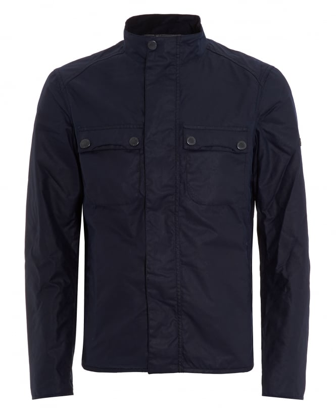 Barbour International Mens Lock Wax Jacket, Silk Wax Indigo Coat