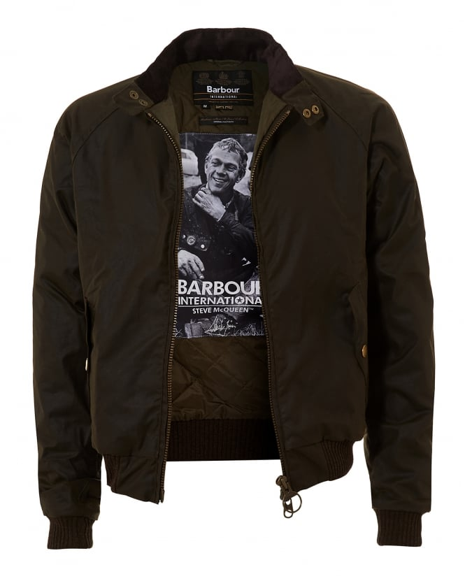 Barbour International Mens Merchant Wax Olive Green Bomber Jacket