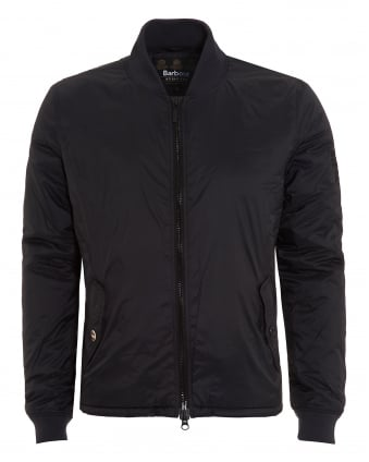 International Mens Oil Field Bomber Jacket, Black Nylon Coat