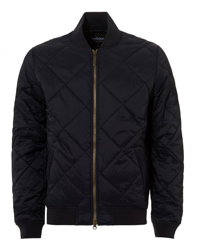 Barbour International Mens Quilted Bomber Navy Blue Jacket