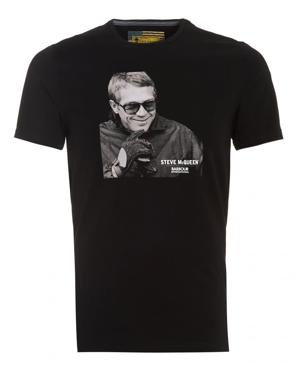 barbour international mens smile steve mcqueen smile black t shirt. Black Bedroom Furniture Sets. Home Design Ideas
