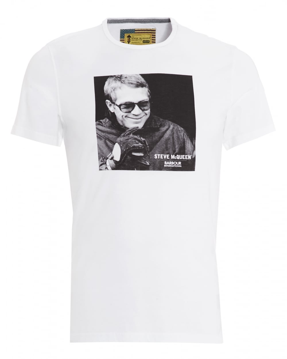 barbour international mens smile steve mcqueen smile white t shirt. Black Bedroom Furniture Sets. Home Design Ideas