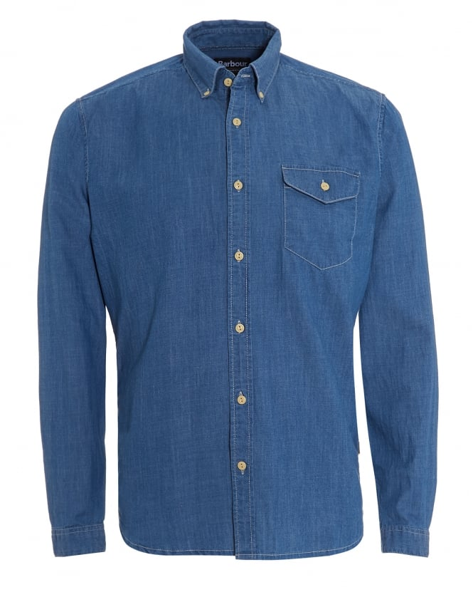 Barbour International Mens Speedrome Shirt, Denim Rinse Indigo Shirt