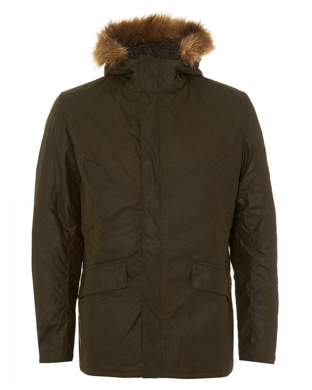 Barbour International Mens Sub Waxed Cotton Archive Olive Parka Jacket 97ca1832198e