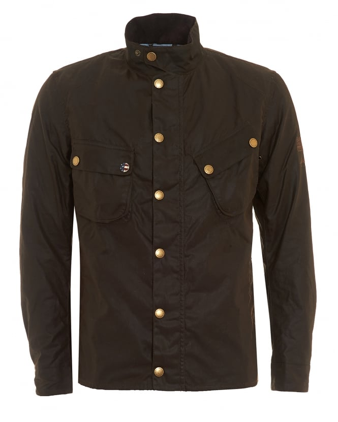 Barbour International Mens Wax 9665 Jacket, Buggy Olive Green Coat