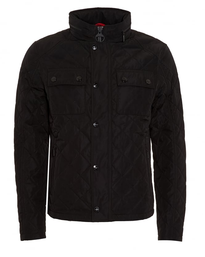 Barbour International Triumph Mens Coat, V Twin Box Quilted Black Jacket