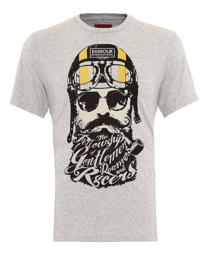 Barbour International Triumph Mens T-Shirt, Gentlemen Bearded Grey Marl Tee