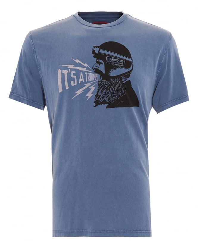 Barbour International Triumph Mens T-Shirt, Gentlemen Triumph Blue Tee