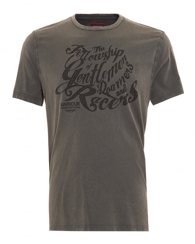 Barbour International Triumph T-Shirt, Mens Gentlemen Graphic Text Charcoal Tee