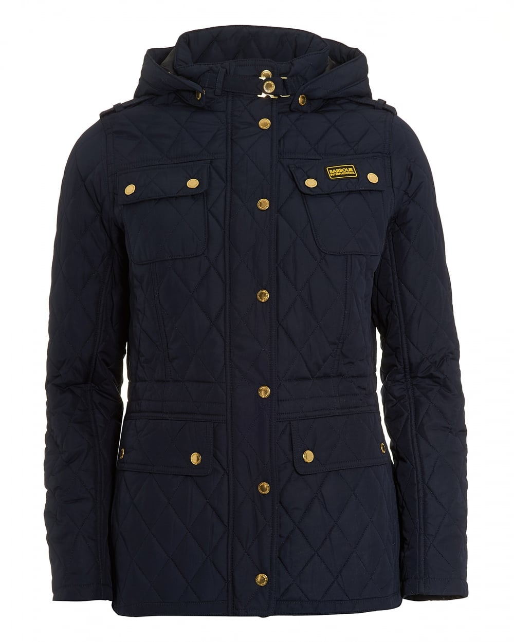 Barbour International Womens Absorber Parka Jacket, Navy Blue Quilted