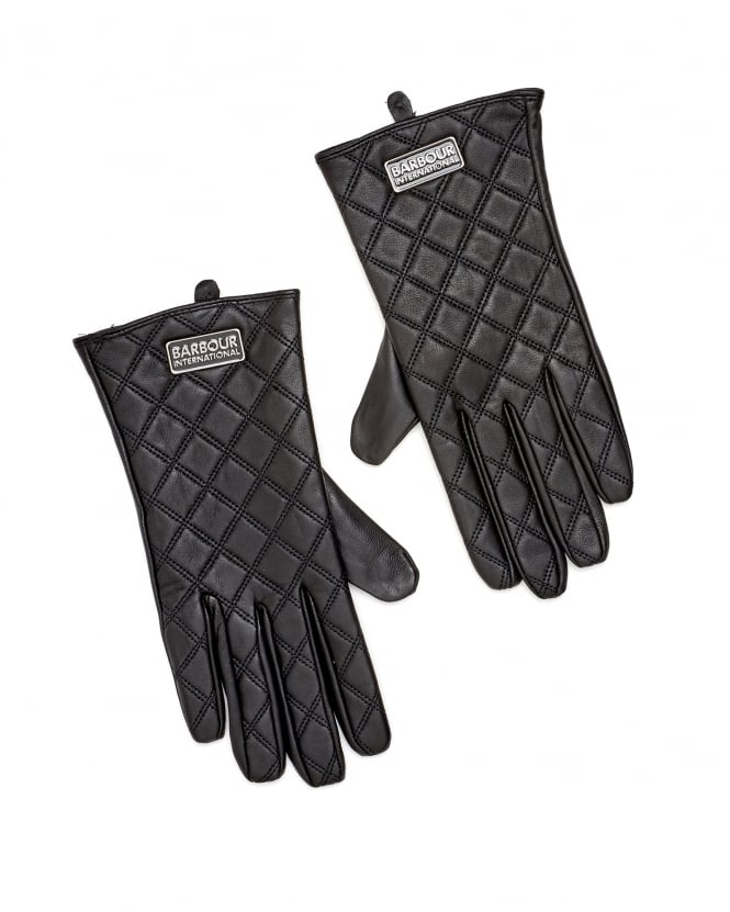 Barbour International Womens Burton Tourer Quilted Leather Gloves