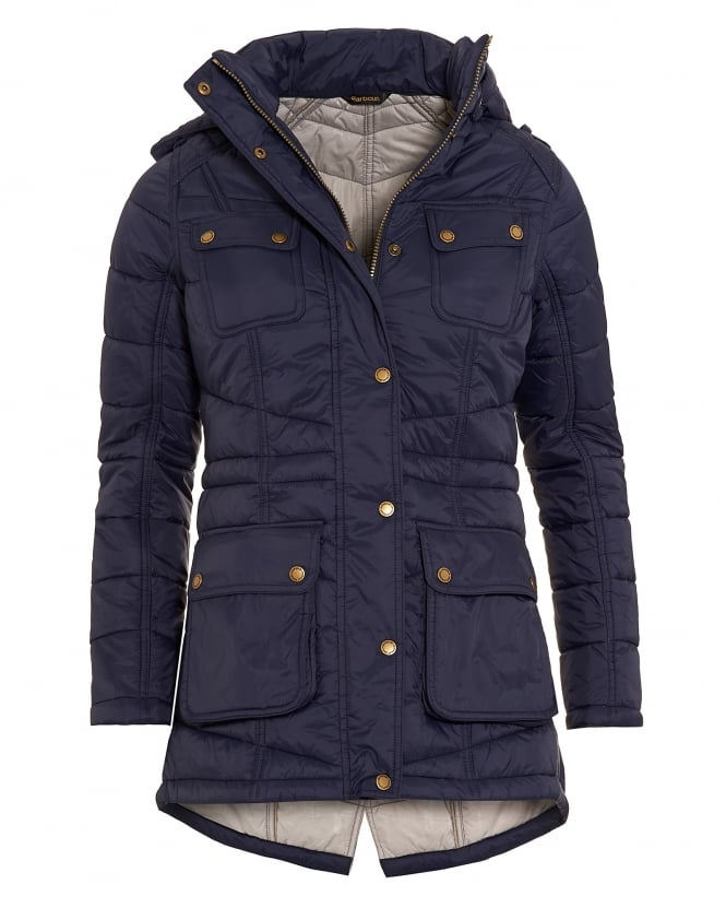Barbour International Womens Circlip Quilted Jacket, Navy Blue Chevron Coat