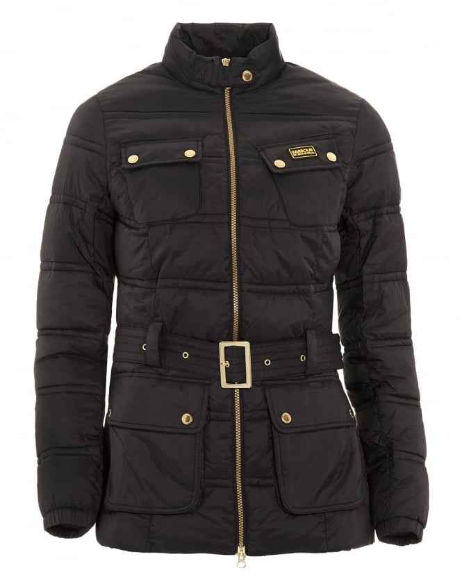 Barbour International Womens Coat, Pannier Baffle Black Quilted Jacket