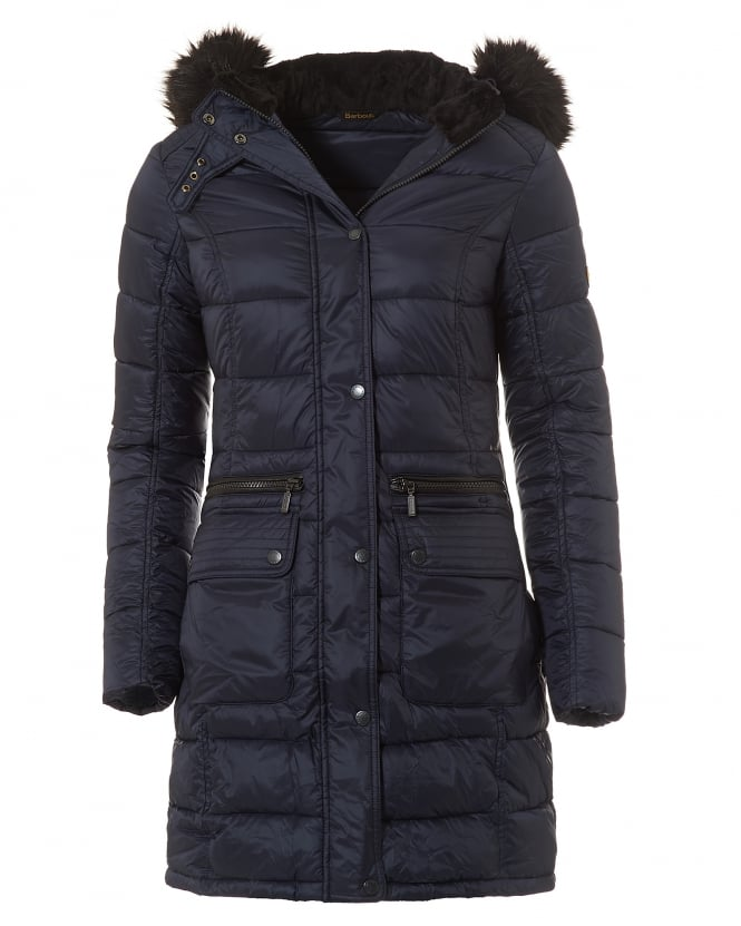 Barbour International Womens Dunnet Quilt Jacket, Long Baffle Navy Coat
