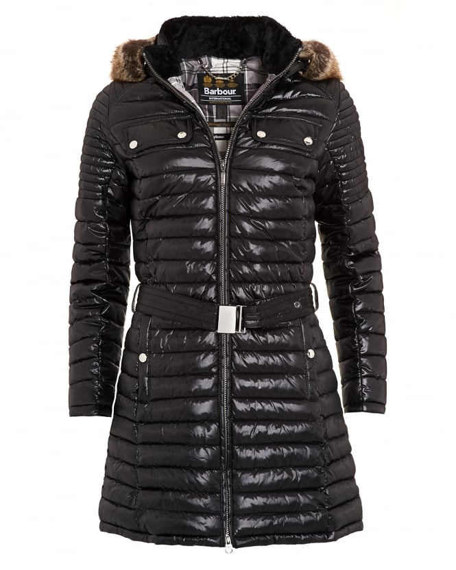 Barbour International Womens Endo Baffle Coat, Quilted Puffa Jacket