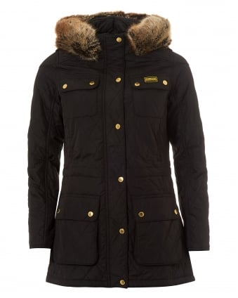 International Womens Enduro Quilted Jacket, Parka Black Coat