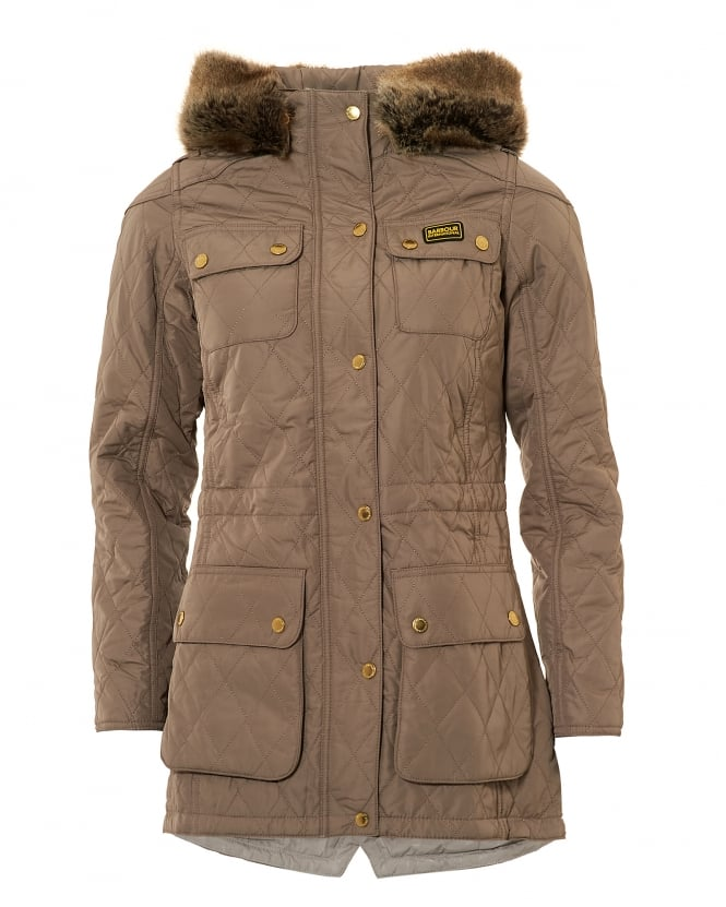 Womens brown quilted jacket
