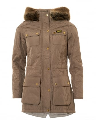 International Womens Enduro Quilted Jacket, Parka Taupe Coat