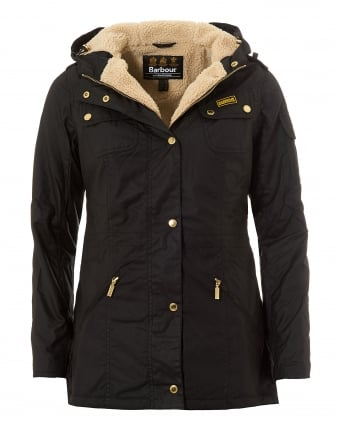 International Womens Flywheel Parka Jacket, Black/Natural Coat