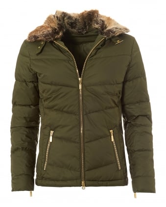 International Womens Garvie Quilted Jacket, Slim Fit Olive Coat