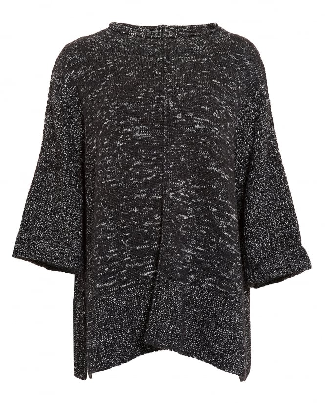 Barbour International Womens Helical Poncho, Black Grey Marl Knit Jumper