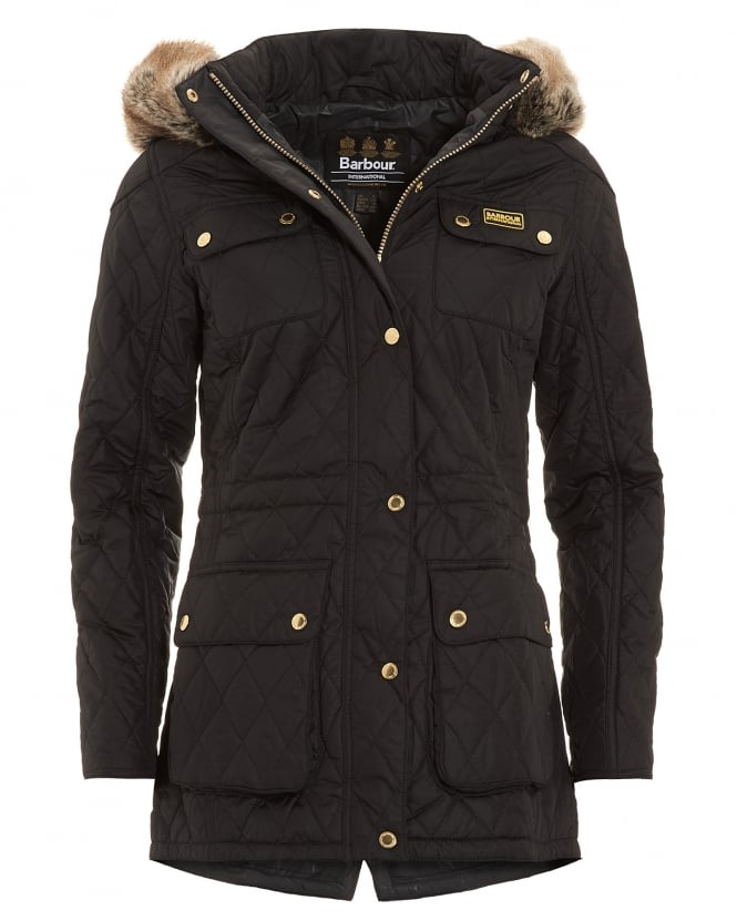 Barbour International Womens Jacket, Enduro Quilted Black Parka Coat