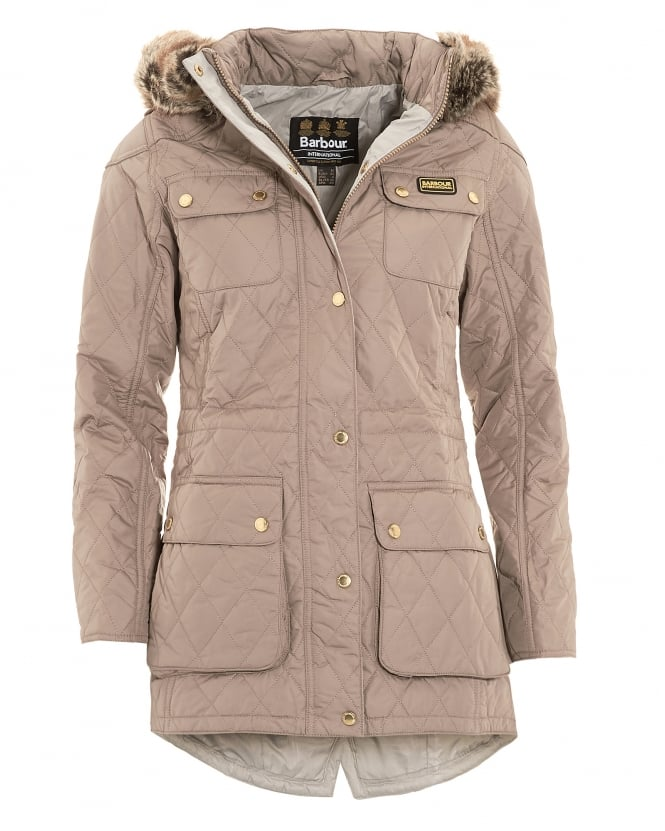 Barbour International Womens Jacket, Enduro Quilted Taupe Parka Coat