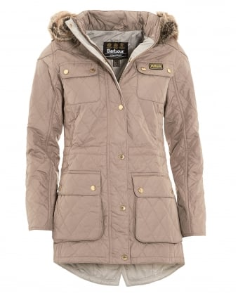 International Womens Jacket, Enduro Quilted Taupe Parka Coat