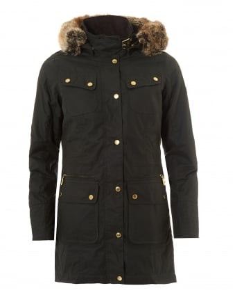 International Womens Mallory Wax Parka Jacket, Mid Length Sage Coat