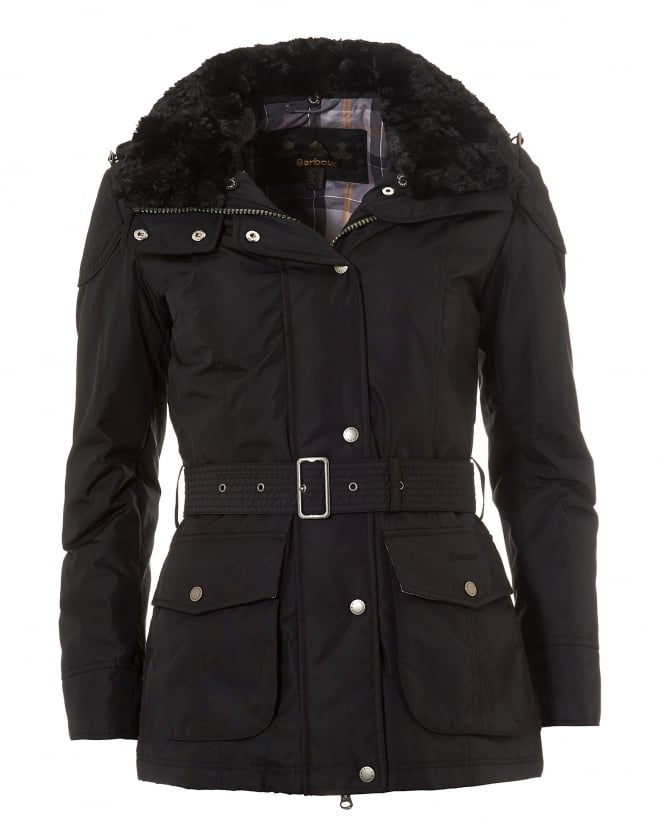 Barbour International Womens Outlaw Belted Jacket, Waterproof Black Coat