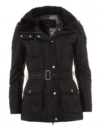 International Womens Outlaw Belted Jacket, Waterproof Black Coat