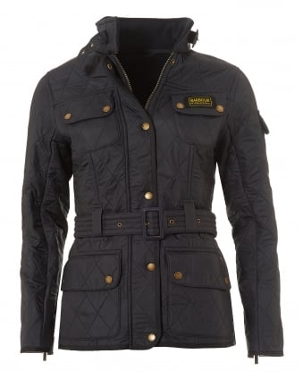 International Womens Polarquilt Jacket, Belted Navy Coat