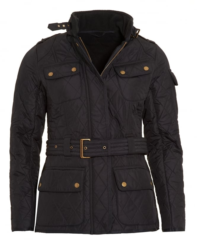 Barbour International Womens Polarquilt Jacket, Black Quilted Tourer Jacket