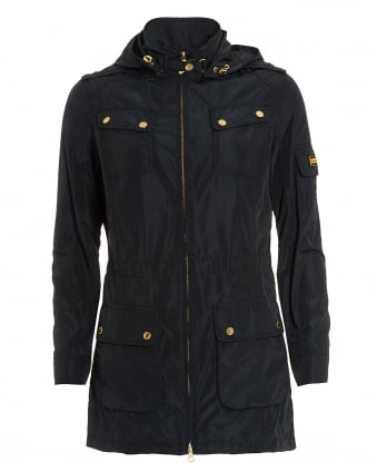 International Womens Rearset Casual Jacket, Navy Blue Parka Coat