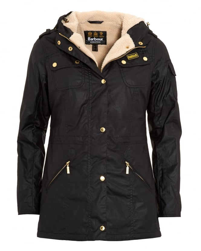 Barbour International Womens Tourer Flywheel Parka, Black Fleece Lined Wax Jacket