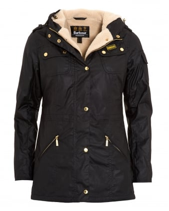 International Womens Tourer Flywheel Parka, Black Fleece Lined Wax Jacket