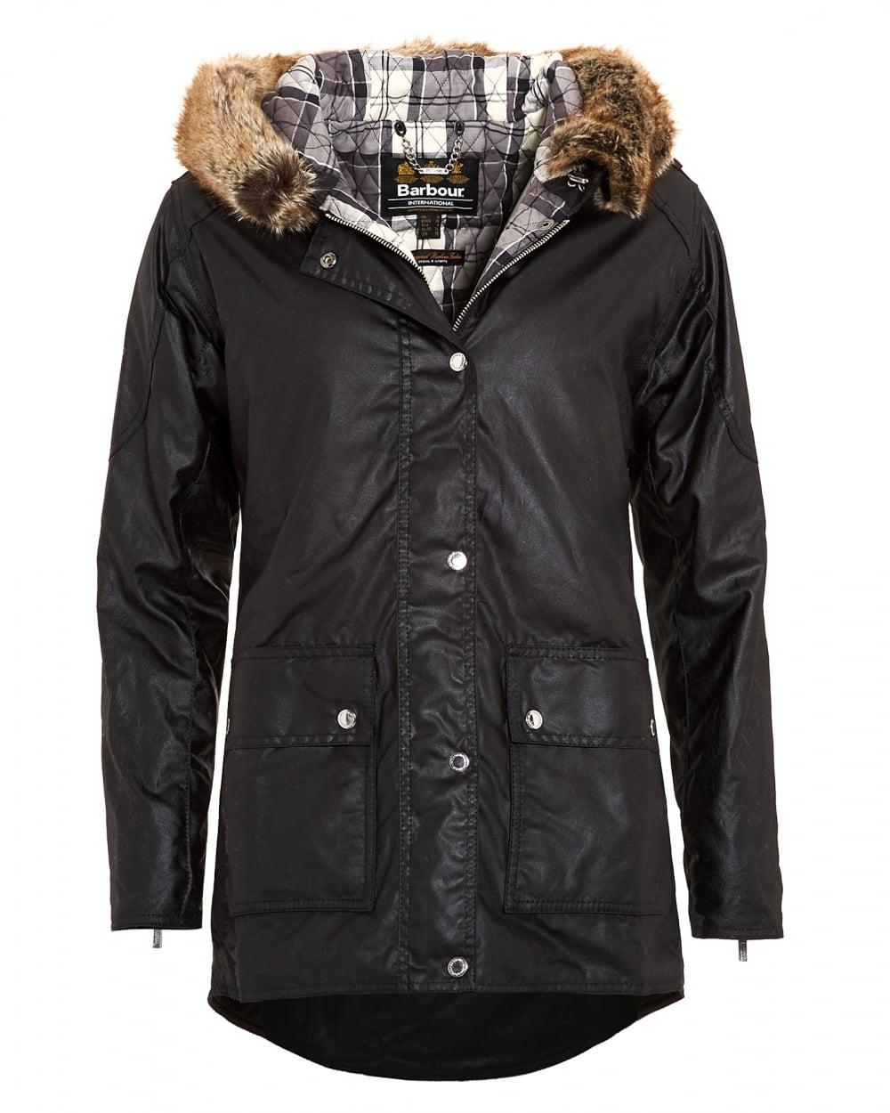 Barbour International Womens Turini Black Waxed Jacket, Fur Trim Parka