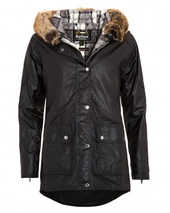 International Womens Turini Black Waxed Jacket, Fur Trim Parka